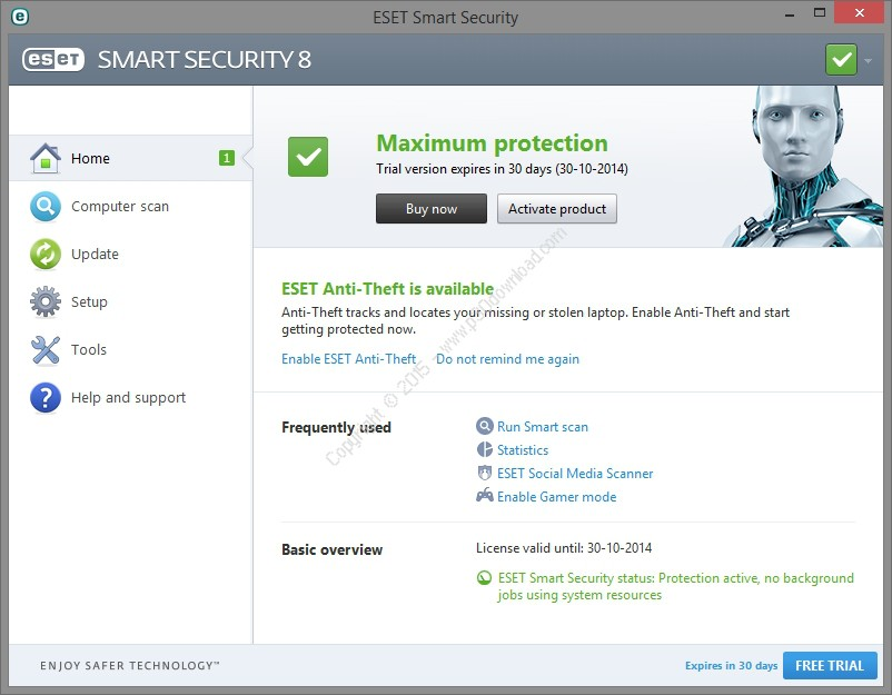 ESET NOD32 Antivirus + Internet Security v11.1.54.0 x86/x64 /ESET NOD32 Smart Security v.10.x Trial Version Crack