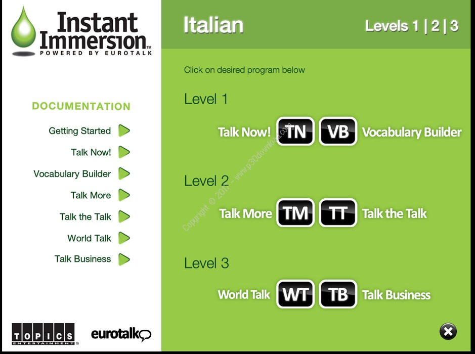 Instant Immersion Italian Levels 1